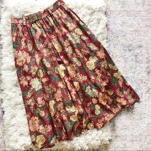 Vintage | 90's Burgundy Floral Flowy Midi Skirt L